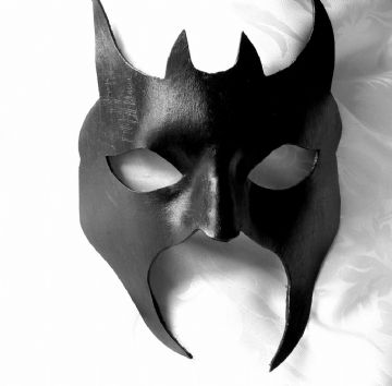 Mens Genuine Handmade Italian Black Leather Diablo Mask